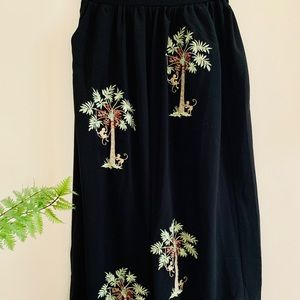 Embroidered Black Maxi Skirt